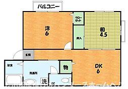 大阪府枚方市星丘3丁目の賃貸アパートの間取り