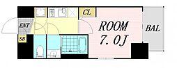 アスヴェル大阪サウスキャナル 9階1Kの間取り