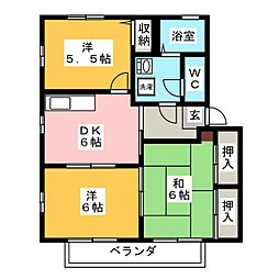 ハムレット'96 A棟[2階]の間取り