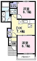 香川県仲多度郡多度津町西港町の賃貸アパートの間取り