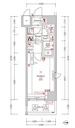 ジーベック蒲田ステーションエグゼ bt[7階]の間取り