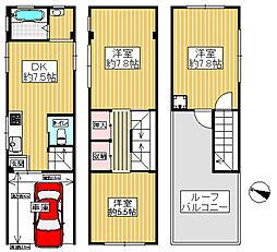 JR大阪環状線 弁天町駅 徒歩2分 3DKの間取り