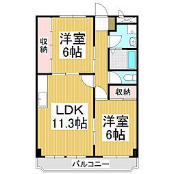 長野県松本市村井町西1丁目の賃貸マンションの間取り
