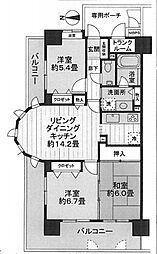ライオンズマンション堺東(熊野小学校区)[7階]の間取り