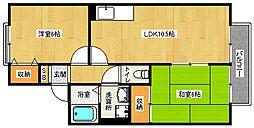 京都府京都市西京区松室吾田神町の賃貸アパートの間取り