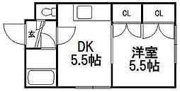 北海道札幌市白石区菊水二条1丁目の賃貸マンションの間取り