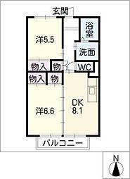 コンフォート平中[1階]の間取り