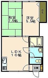 北海道小樽市緑2丁目の賃貸アパートの間取り