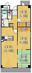 兵庫県西宮市大森町の賃貸マンションの間取り