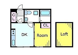 JR中央線 三鷹駅 徒歩7分の賃貸アパート 2階1DKの間取り