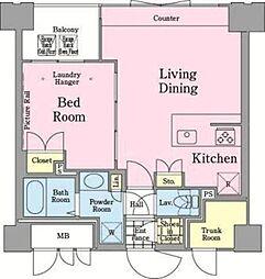 都営新宿線 岩本町駅 徒歩5分の賃貸マンション 12階1LDKの間取り