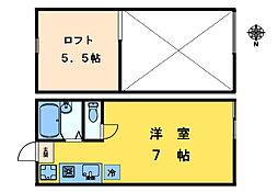 東京都中野区東中野3丁目の賃貸アパートの間取り