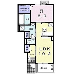 鹿児島県南さつま市加世田村原5丁目の賃貸アパート 1階1LDKの間取り