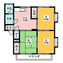 サンパークヤマダ[1階]の間取り