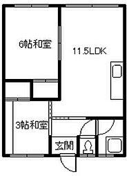 海洋荘[B-3号室]の間取り