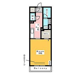 [新築] メゾン米津 2階1Kの間取り