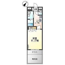 JR山陽本線 幡生駅 徒歩19分の賃貸アパート 1階1Kの間取り