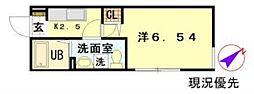 東京メトロ東西線 木場駅 徒歩15分の賃貸マンション 2階1Kの間取り