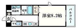 阪急神戸本線 西宮北口駅 徒歩8分の賃貸マンション 3階1Kの間取り