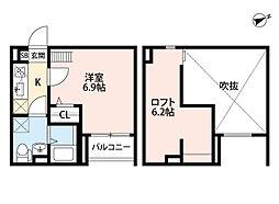 GLANTERIOR出屋敷[2階]の間取り