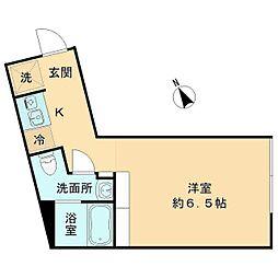 都営三田線 春日駅 徒歩8分の賃貸マンション 2階ワンルームの間取り