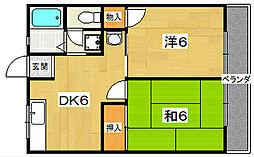 大阪府枚方市長尾元町2丁目の賃貸アパートの間取り