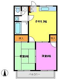デリエール横須賀A棟[203号室]の間取り