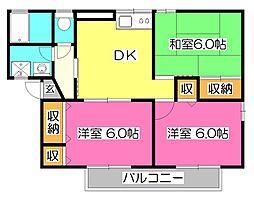 東京都小平市鈴木町2丁目の賃貸アパートの間取り