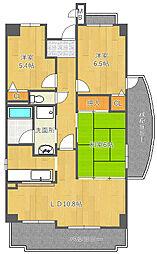 和マンション[4階]の間取り