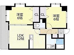 ピュアドームスタシオン箱崎 7階2LDKの間取り