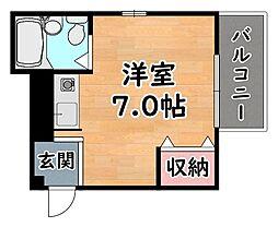 阪急神戸本線 六甲駅 徒歩10分の賃貸マンション 2階ワンルームの間取り