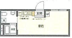 (仮称)台東区上野桜木2丁目マンションB 2階ワンルームの間取り