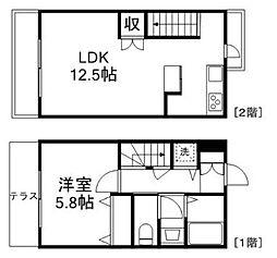 JR中央線 吉祥寺駅 徒歩9分の賃貸マンション 2階1LDKの間取り
