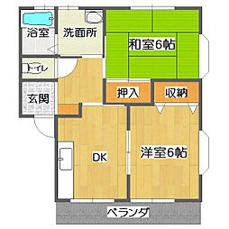 小笠原ハイツA[2階]の間取り