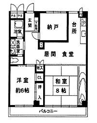 兵庫県西宮市羽衣町の賃貸マンションの間取り