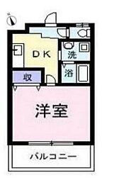 東急田園都市線 長津田駅 徒歩19分の賃貸アパート 2階1DKの間取り