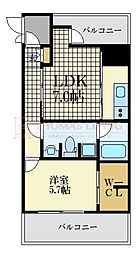 福岡市地下鉄空港線 大濠公園駅 徒歩3分の賃貸マンション 2階1DKの間取り