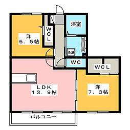 Recente和田 B[3階]の間取り
