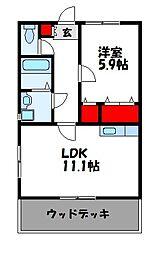 Branc Noir UMI(ブランノアール宇美)A棟 1階1LDKの間取り