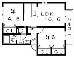 ソシア山坂[2階]の間取り