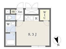 LEGALAND五本木 3階ワンルームの間取り