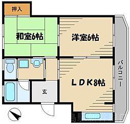 広島県広島市東区温品5丁目の賃貸マンションの間取り