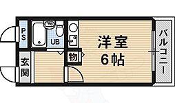 南海高野線 白鷺駅 徒歩2分の賃貸マンション 3階ワンルームの間取り