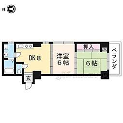 近鉄京都線 小倉駅 徒歩35分の賃貸マンション 2階2DKの間取り