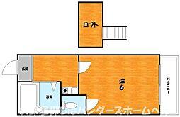 大阪府枚方市上島東町の賃貸アパートの間取り