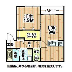 福岡県北九州市小倉北区黒住町の賃貸アパートの間取り