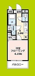 リコルテ sanburaitonesu 3階1Kの間取り