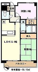 埼玉県川口市領家1丁目の賃貸マンションの間取り