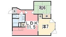 兵庫県姫路市伊伝居字岸ノ下の賃貸アパートの間取り