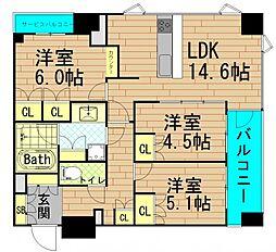 プレサンスレジェント堺筋本町タワー[15階]の間取り